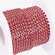 BENECREAT 10 Yard Crystal Rhinestone Close Chain Clear Trimming Claw Chain Sewing Craft about 2880pcs Rhinestones, 2mm - Red (Silver Bottom)