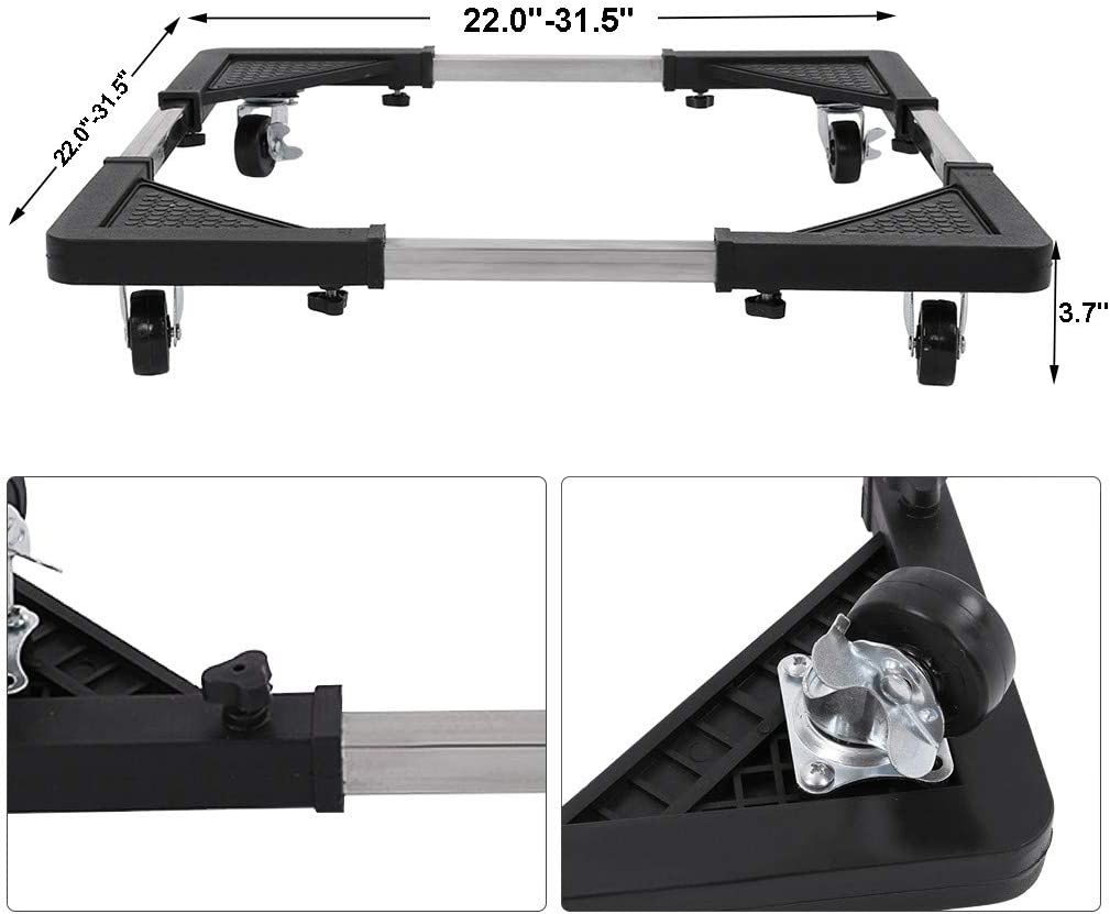 Plantb Universal Movable Base Stand Adjustable Mobile Base With Wheels For Home Refrigerator Washer Stand Black