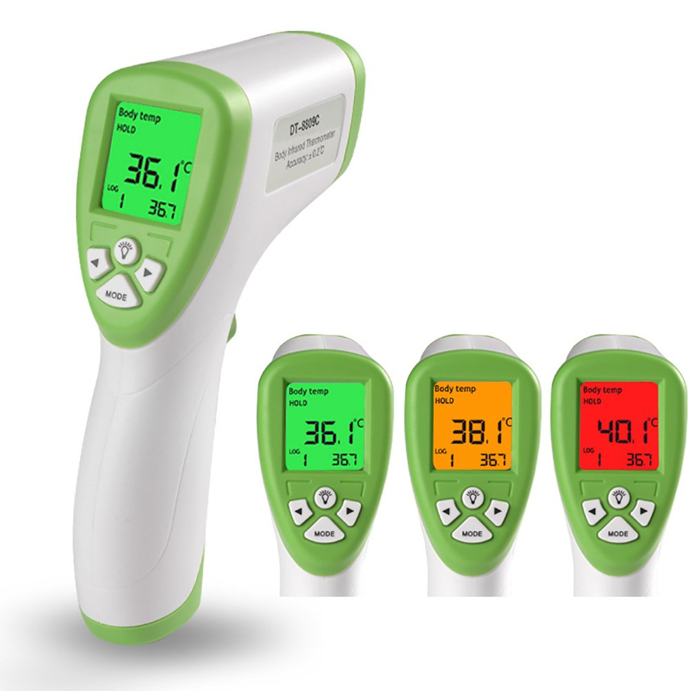 Non Contact Thermometer Body Temperature, Digital Infrared Thermometer, Electronic Forehead and Ear Temperature Gun for Baby, Children, Adult, Pet Food etc(Green)