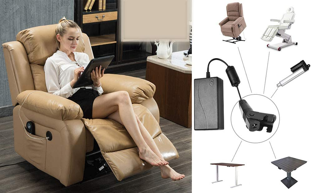 Universal Lift Chair or Power Recliner AC//DC Switching Power Supply Transformer Compatible with All Recliners 29V 2A Adapter for Lift Chair or Power Recliner US Plug /& Motor Cable Included