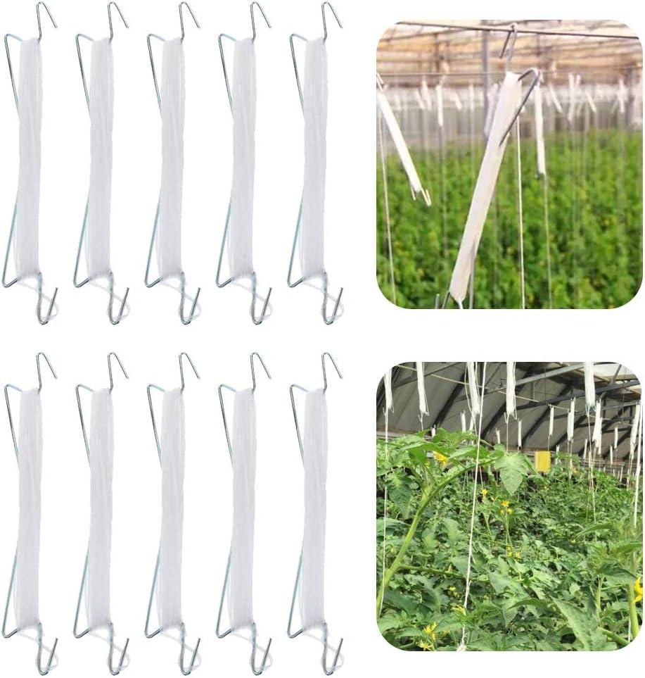 10 Pcs Tomato Support Hooks Plant Climbing Hooks Garden Hooks for Garden Flower Vegetable, Iron Plant Vine Tie Support Tool 33ft Rope