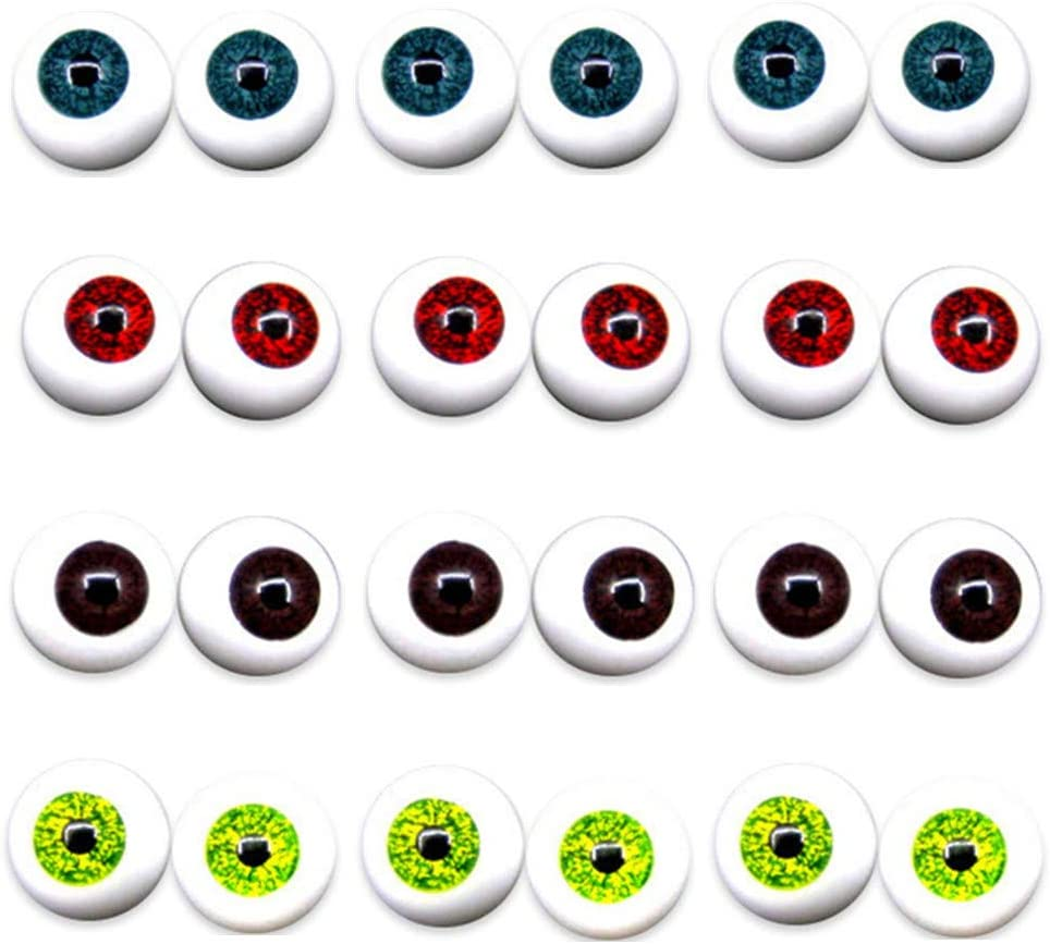 Dolls or Bears Craft Plastic Eyeballs 20mm Masks UUsave 4 Pairs of 4 Colors 20mm Half Round Realistic Acrylic Eyes for Halloween Props
