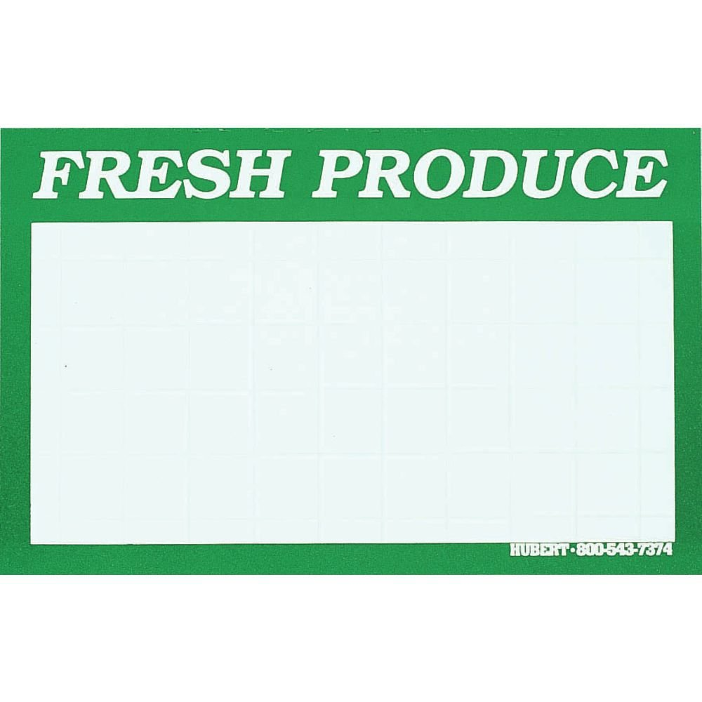''Fresh Produce'' Sign Cards White with Green Border - 5 1/2''L x 7''H 100 Per Bag