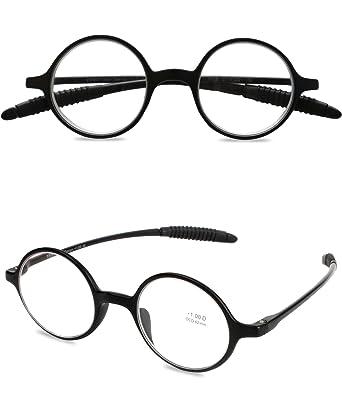 305c9be713f VEVESMUNDO Reading Glasses Round Men Women Flexible Bendable Eyeglasses  Readers