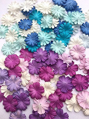 ICRAFY 100 Assorted Die cut Flower Mulberry paper Blue Purple Tone , Pastel Tone 100 Pcs. Size 1
