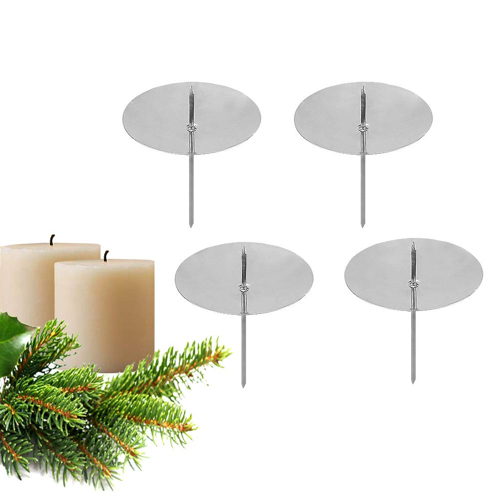 Candle Plate for Advent Wreath Christmas Decorations Silver Single Head 8cm Wrought Iron Table Candlestick Holders GoMaihe Advent Wreath Candle Holder 4 Pack Xmas Vintage Candelabra with Mandrel