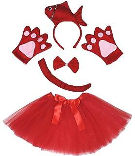 0d48dc475dcc6 Petitebelle Poisson fantaisie Bandeau Noeud Papillon Queue Ensemble de  gants Rouge Tutu pour Lady
