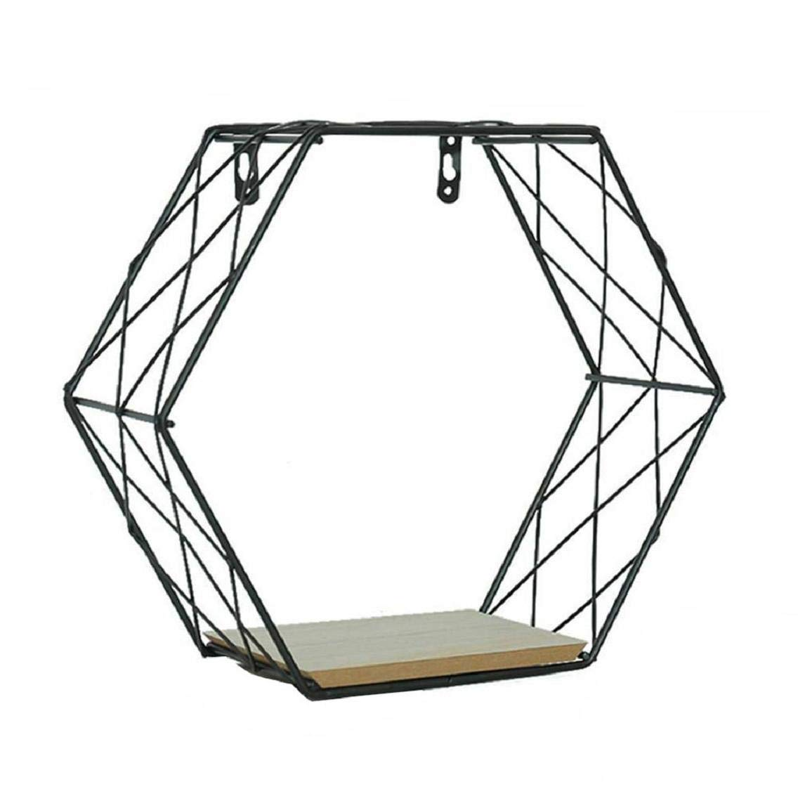Boddenly Metal Wire Hexagon Design Wall-Mounted Shelves, Floating Hexagon Shelves, Wall-Mounted Geometric Metal Wall Decor Hexagon Floating Display Racks Magazine Rack Record Holder