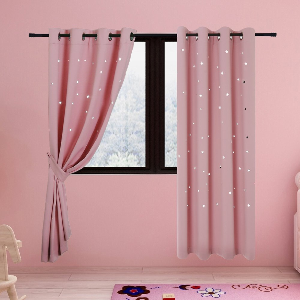2 Panels BUZIO Twinkle Star Kids Room Curtains with 2 Tiebacks, Thermal Insulated Blackout Curtains with Punched Out Stars for Space Themed Nursery and Bedroom (52 x 84 inches, Space Gray)