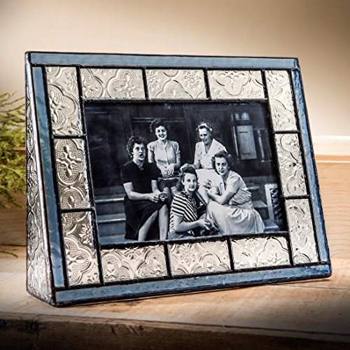 J Devlin Pic 159 Series Blue Stained Glass Picture Frame Assorted Sizes (4x6 Horizontal) Antique Blue Glass