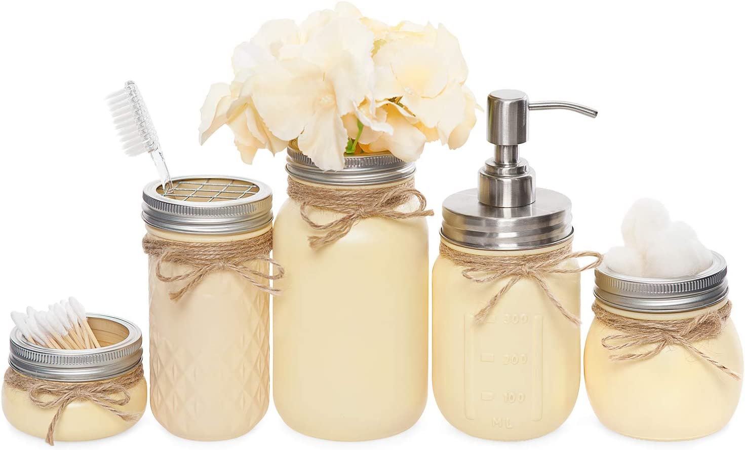 Mkono Mason Jar Bathroom Accessories Set 5 Piece Painted MasonJars Bathroom Organizer Include Liquid Soap Dispenser, Cotton Swab, Makeup Sponge,Tissue,Toothbrush Holder,Rustic Country Countertop Decor