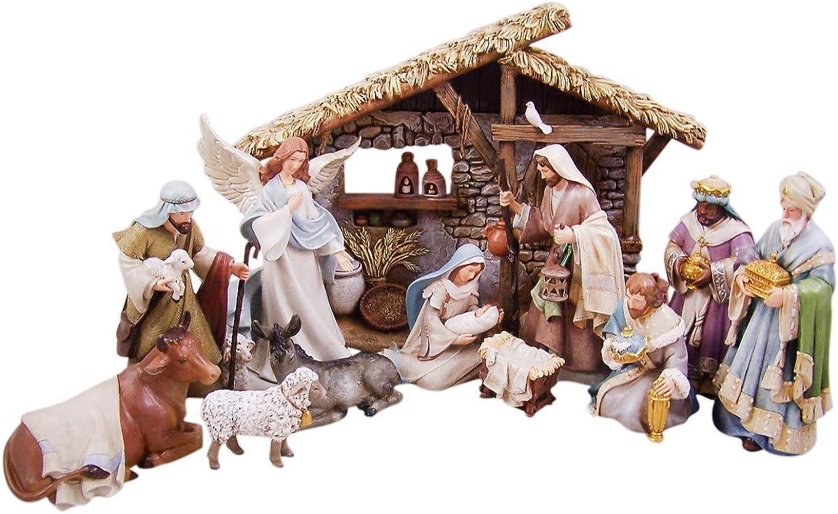 Bethlehem Nights Christmas Nativity Scene Figurines with Creche, 12 Piece Set