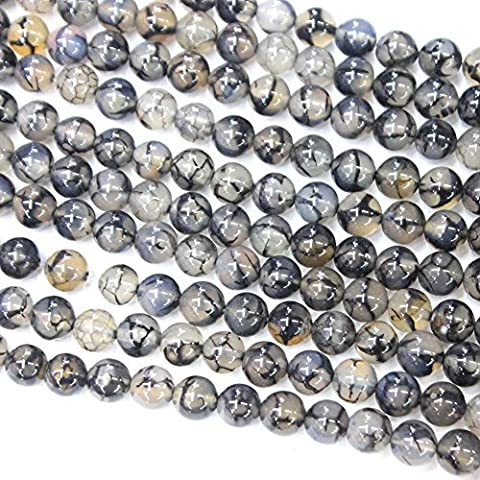 Grey Dragon Vein Agate Round Findings Jewerlry Making Gemstone Loose Beads (10mm) by - Grey Agate Stone