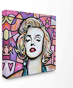 Stupell Industries Marylin Pink Purple Modern Portrait Painting, Design by Artist Eric Waugh Wall Art, 17x17, Canvas