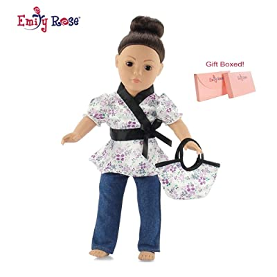 """Emily Rose 18 Inch Doll Clothes Fits American Girl - Satin Tunic & Jeans Outfit Includes 18"""" Dolls Accessories: Toys & Games"""