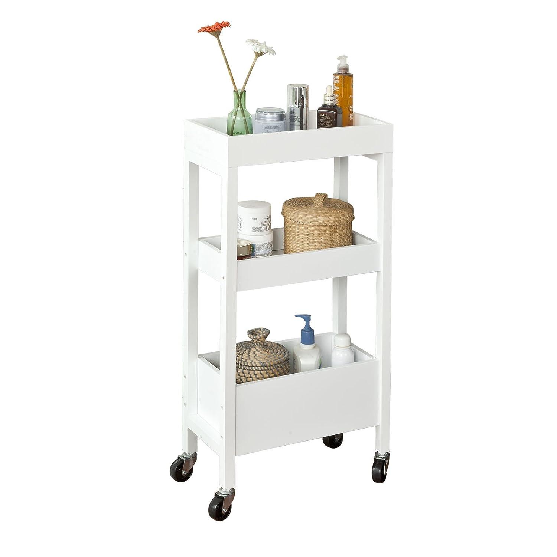 SoBuy FKW49-W,ES Carrito de Cocina, Carrito de Servir- 3 estantes, 4 Ruedas-Blanco SoBuy®