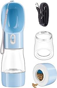 Dioxide Portable Dog Water Bottle Dispenser,2 in 1 Pet Water and Food Bottle Leak Proof for Pets Outdoor Walking, Hiking, Travel,Food Grade Plastic (Blue)