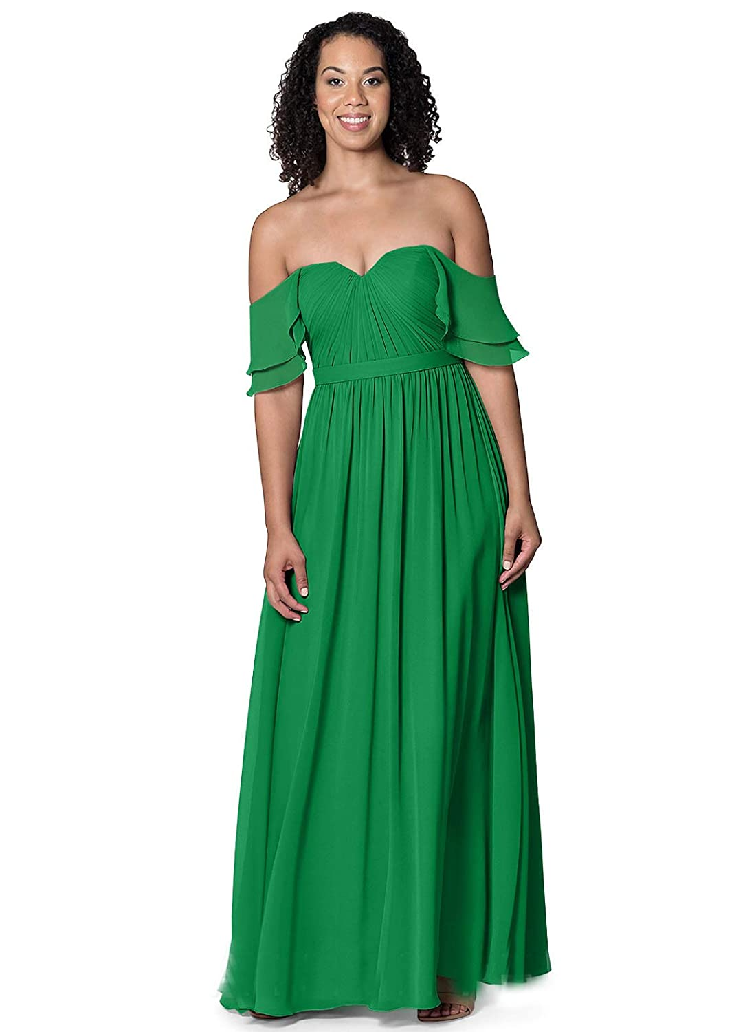 LOVEONLY Womens A-Line Off Shoulder Sweetheart Bridesmaid Dress Chiffon Pleated Spring 2019 Long Formal Dress