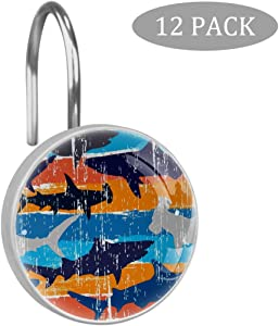 LORVIES Scalloped Hammerhead Sharks Pattern Decorative Shower Curtain Hooks Rings Stainless Steel Rust-Resistant Set of 12