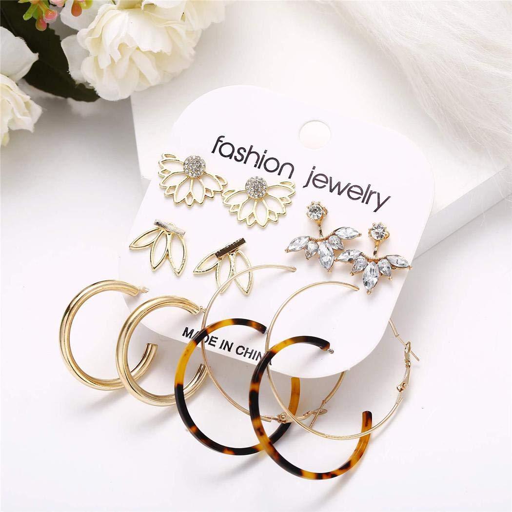 Partion 6 Pair//set Women Earrings Set Fashion Ear Hook Stud Piercing Dangle Earrings Hanging Jewelry