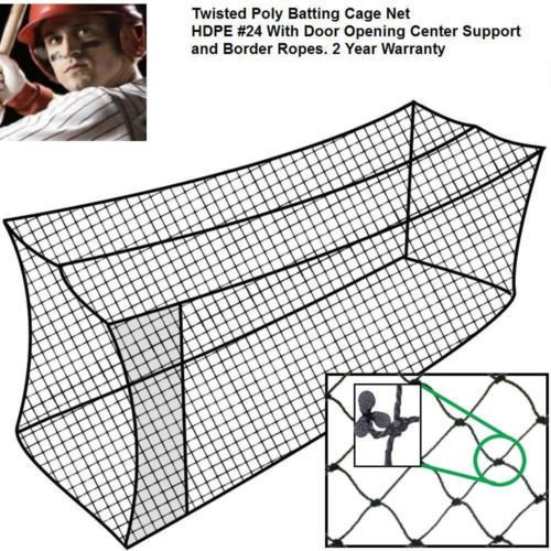Baseball Batting Cage Net 40x12x10 #24 Twisted Poly Hdpe w/ Door Opening by Factory Direct Baseball