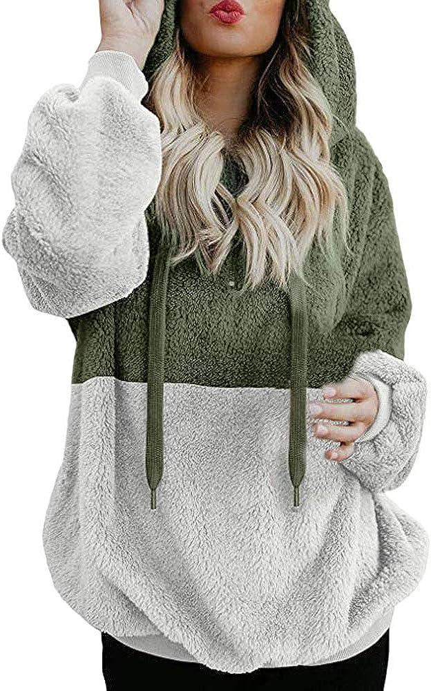 TOPBIGGER Women's Oversized Sherpa Pullover Hoodie with Pockets 1/4 Zip Fuzzy Fleece Sweatshirt