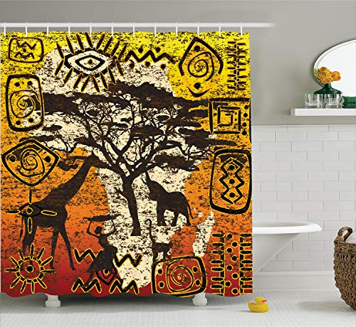 Ambesonne African Decorations Collection, African Animals in Safari Theme Ancient Cultral Ethnic Art Grunge Style Bohemian House Decor, Polyester Fabric Bathroom Shower Curtain, 84 Inches Extra Long,