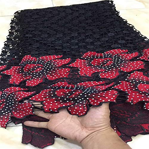 Laliva African Cord Stones lace Guipure lace Fabric Best Selling Products African Water Soluble Laces ZH65a - (Color: as picture8)