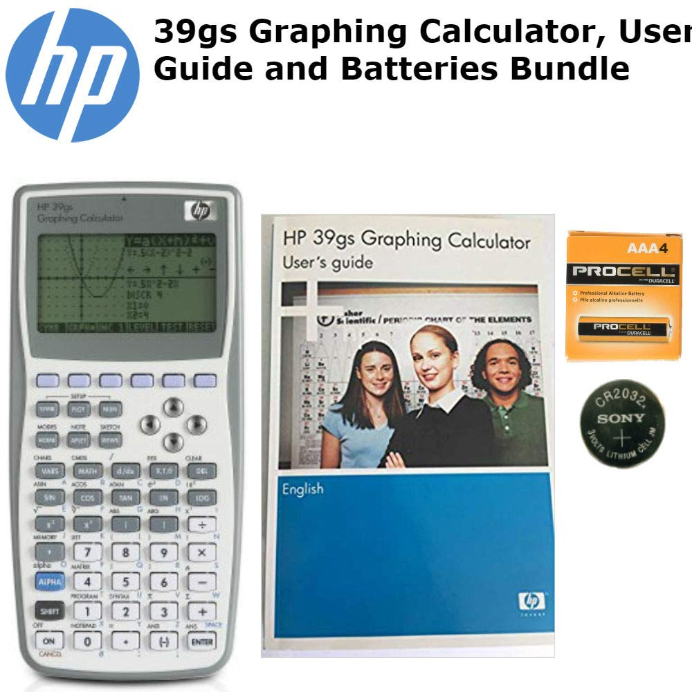 HP 39gs Graphing Calculator, User Guide and Spare Batteries Bundle
