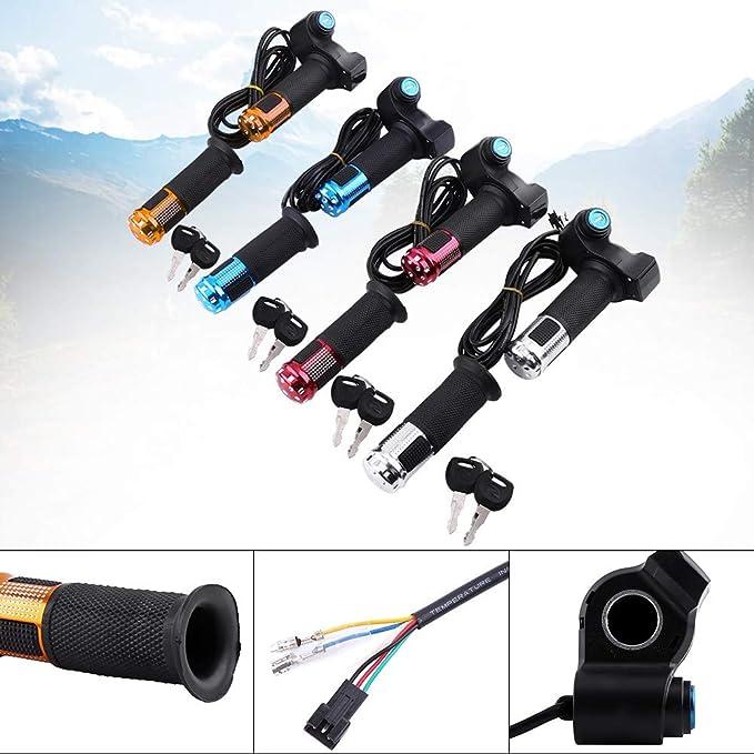 4 Farben Bike Gasgriff Universal Elektrische Fahrrad Roller Twist Gasgriffe Mit Led Display Bildschirm Griff Mit Schlüssel Klopfe Silber Sport Freizeit