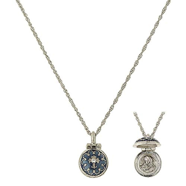 Silver-Tone Blue Enamel Cross Pendant Enclosed Virgin Mary Necklace 16 Adj.