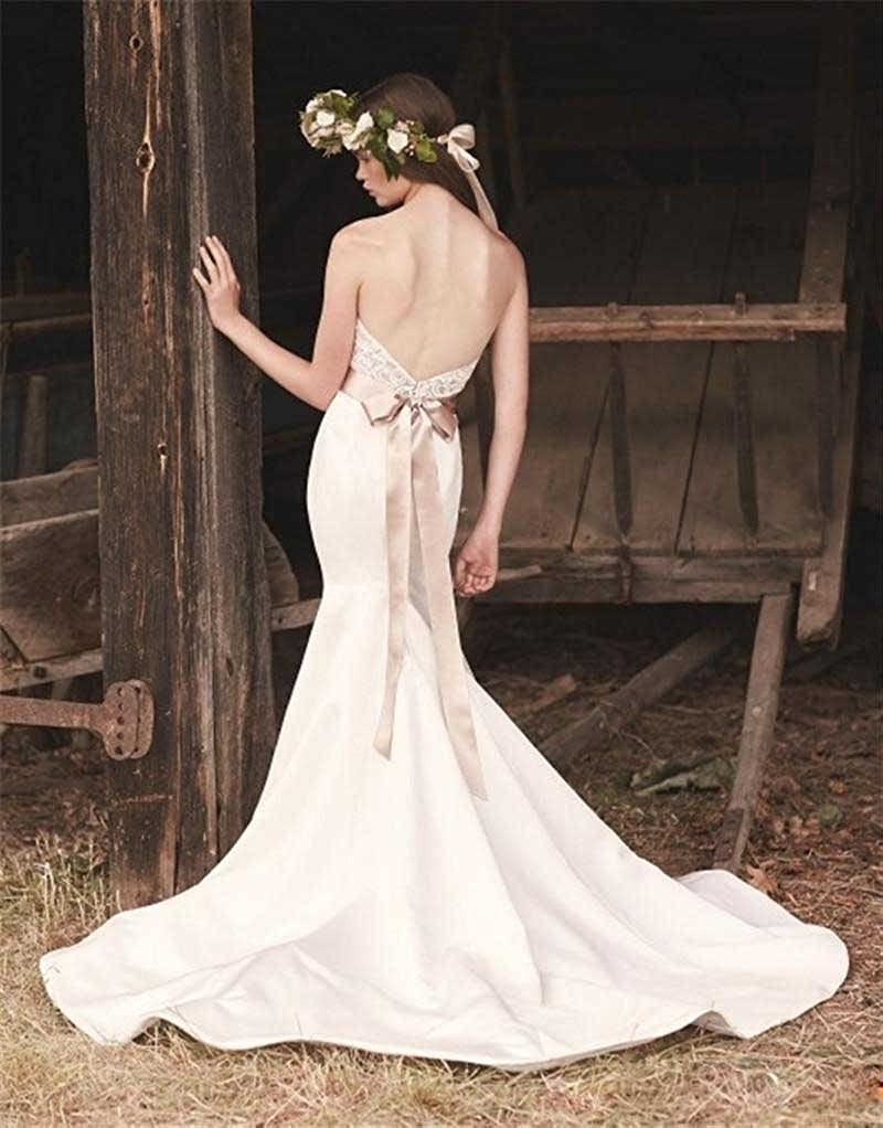 Kelaixiang Strapless Lace Open Back Wedding Dress for Women Tie Sash