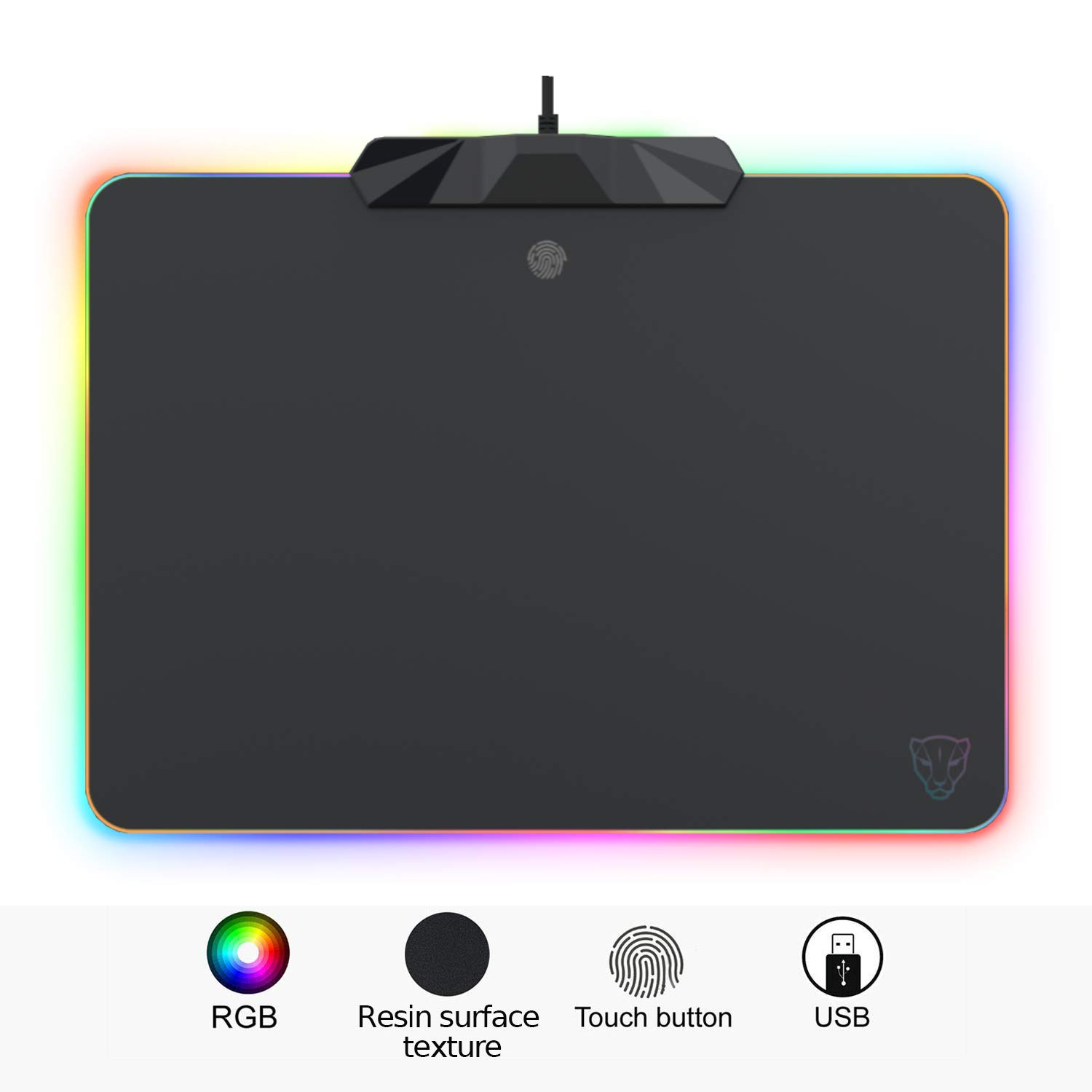 MOTOSPEED RGB Gaming Mouse Pad -LED Lighting Effects,Wired,Hard Surface Gamer Mouse Mat for Laptop Computer PC Games 13.8X9.8 Inch New 2019 Version