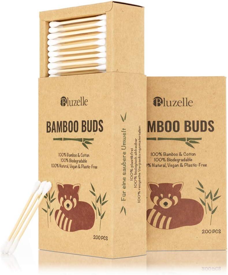 BLUZELLE [200 piezas] Bamboo Buds, hisopos de algodón 100% libres ...