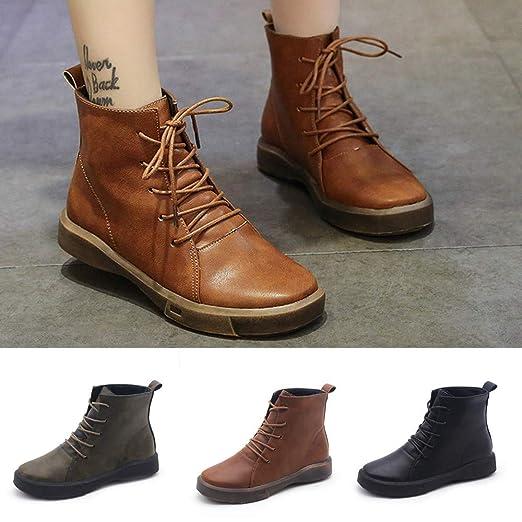 Amazon.com: Faionny - Botas planas para mujer, zapatos de ...