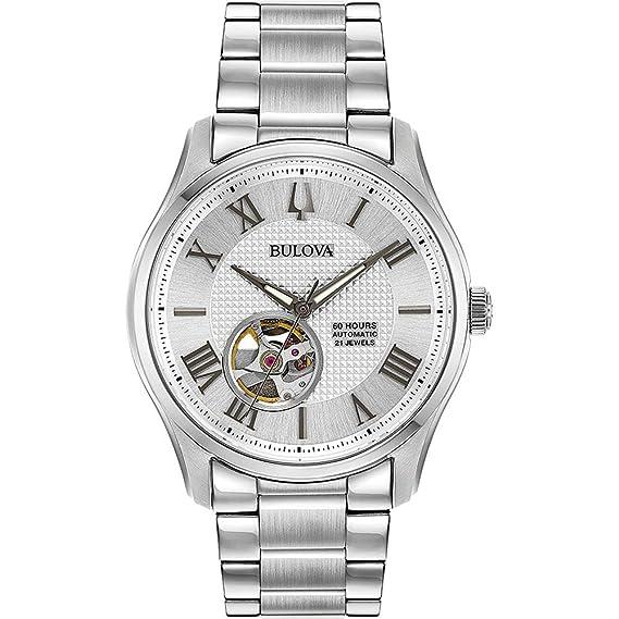 nuovo prodotto 9a077 4e223 Bulova orologio uomo acciaio automatico open heart 96a207 ...