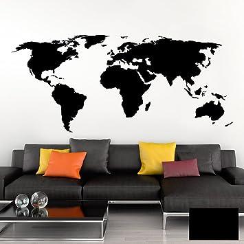 Grandora Wandtattoo Weltkarte Erde Globus Karte I Schwarz 120 X 53