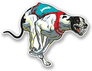 2 x Greyhound Racing Dog Vinyl Sticker Laptop Travel Luggage Car #5511