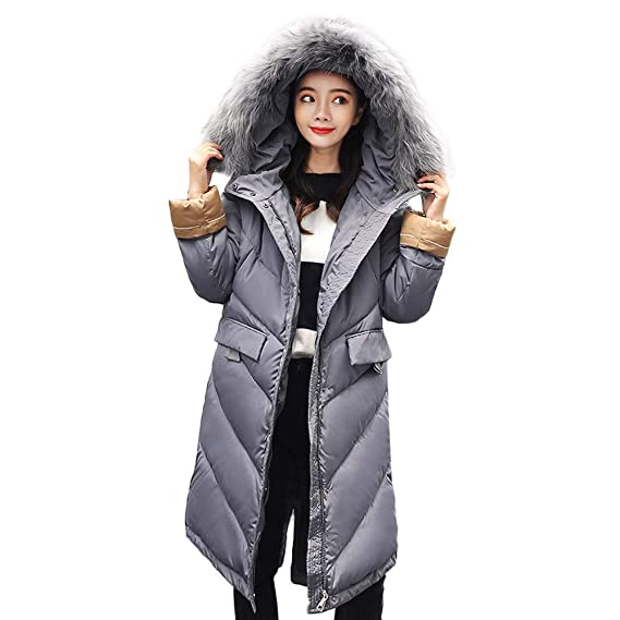 Darringls Chaqueta Mujer cálido, Abrigos con Capucha Cuello de Piel Chaqueta SeccióN Larga con Cremallera Manga Larga: Amazon.es: Ropa y accesorios