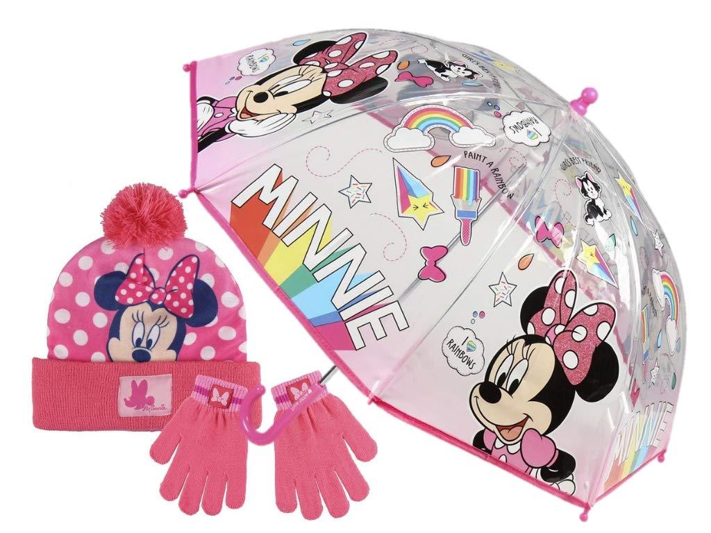 Bonito paraguas de Minnie con guantes y gorro a juego.