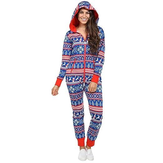 KaiCran Womens Christmas Onesie Fall Winter Romper Christmas Print Pajamas  Hooded Zipper Jumpsuit Outfits (Blue 51bcc5969