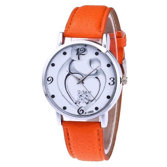 Las mujeres reloj Vintage amor corazón pareja de cuarzo analógico, correa de piel banda ronda