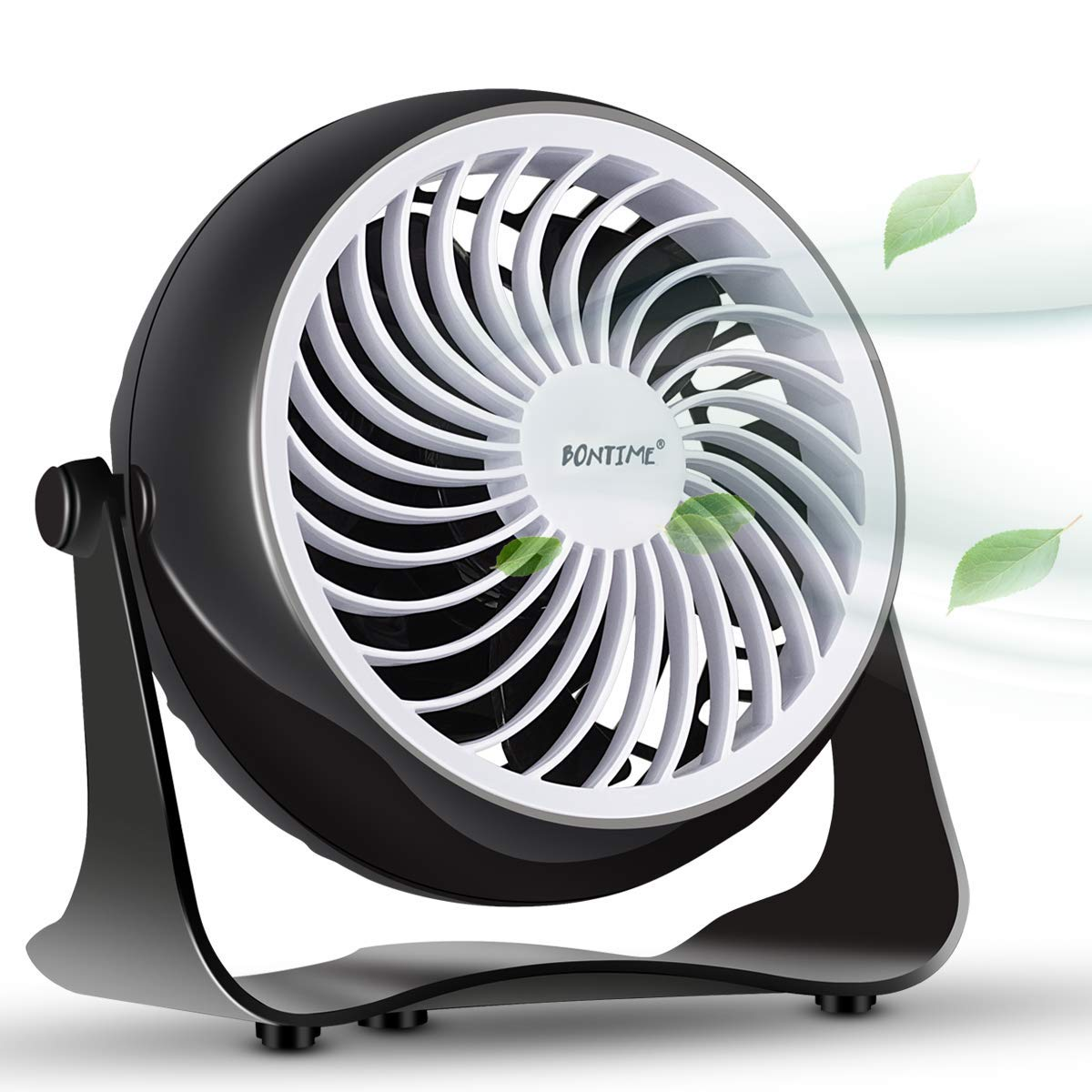 BONTIME Table Fan - Cooling Desktop Fan with Adjustable Tilt, USB Powered Desk Fan Perfect for Home, Office or Any Desktop Area, 4 Inches (Classic Black) by BONTIME