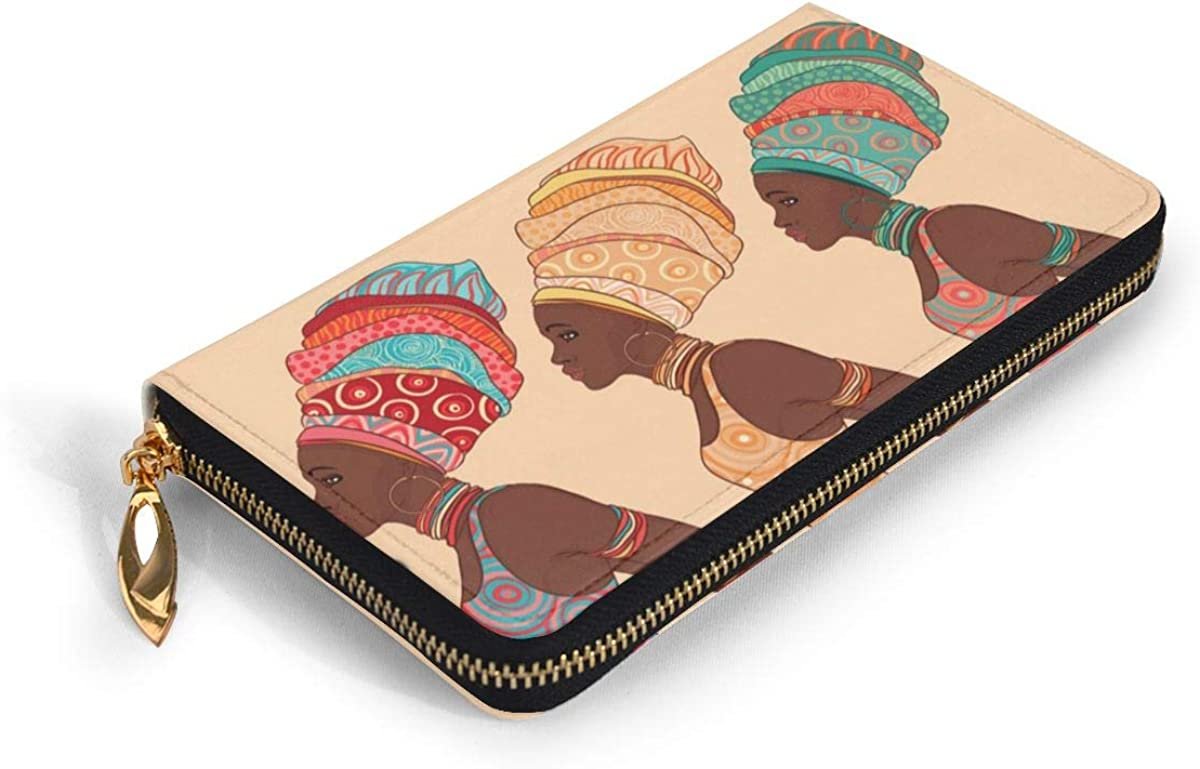 African American Woman In Traditional Wallets For Men Women Long Leather Checkbook Card Holder Purse Zipper Buckle Elegant Clutch Ladies Coin Purse