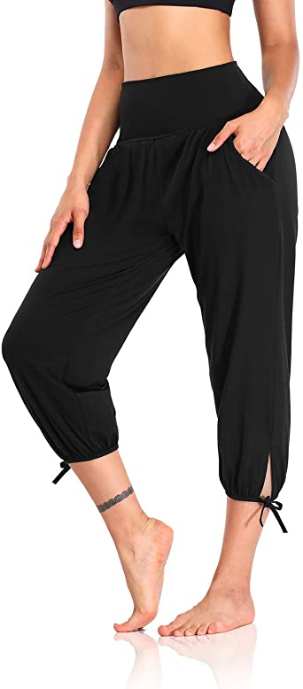 Amazon Com Dibaolong Womens Yoga Pants Capri Loose Workout Sweatpants Comfy Lounge Joggers With Pockets Clothing