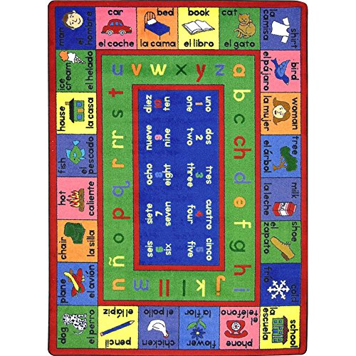 Joy Carpets Kid Essentials Language & Literacy Spanish LenguaLink Rug, Multicolored, 5'4'' x 7'8'' by Joy Carpets