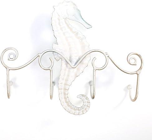 TOOARTS Appendiabiti da parete in ferro//Attaccapanni a muro Seahorse Design vintage con 4 ganci perfetti per cappelli Cappelli Borse Viti incluse