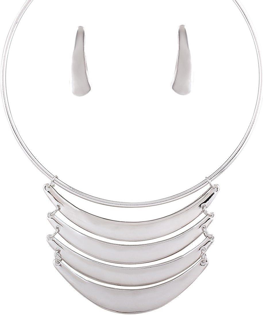 QIYUN.Z Cojunto de Collar y Pendientes Juegos de Joyas para Mujer Bib Set de Joyería
