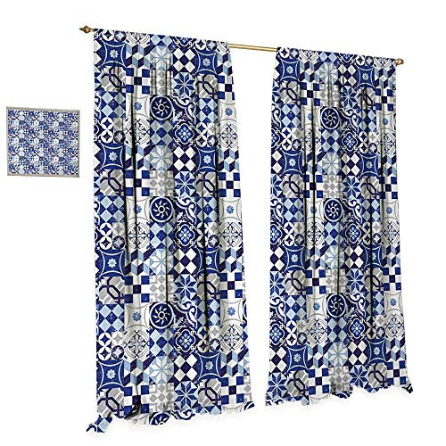 Anniutwo Antique Patterned Drape for Glass Door Vintage Patchwork Inspired Mosaic Tile Pattern Traditional Classic Design Waterproof Window Curtain W108 x L96 Blue Navy Blue White -