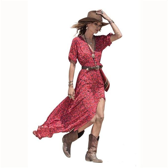 Kleider Damen Dasongff Frauen Sommerkleider Boho Chiffon Blumendruck ...